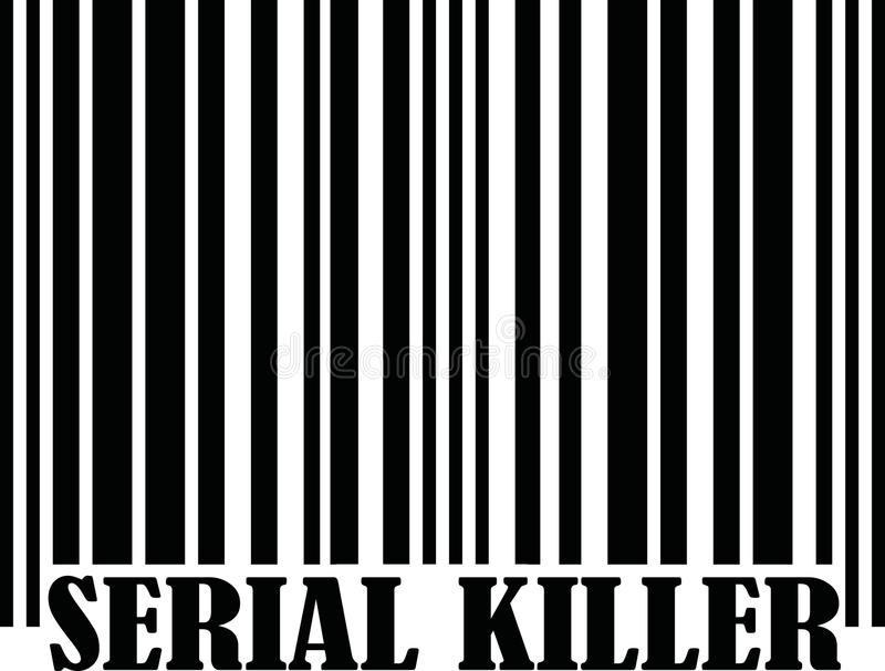 Assassino em série com código de barras ilustração royalty free