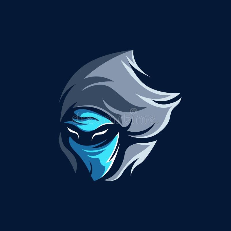 Assassino Esport Mascot Logo Template da sombra ilustração stock