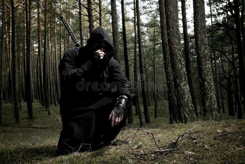 Assassino nella foresta profonda fotografie stock