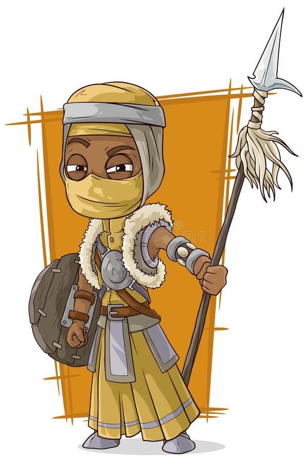 Assassino persiano fresco del fumetto con la lancia illustrazione vettoriale