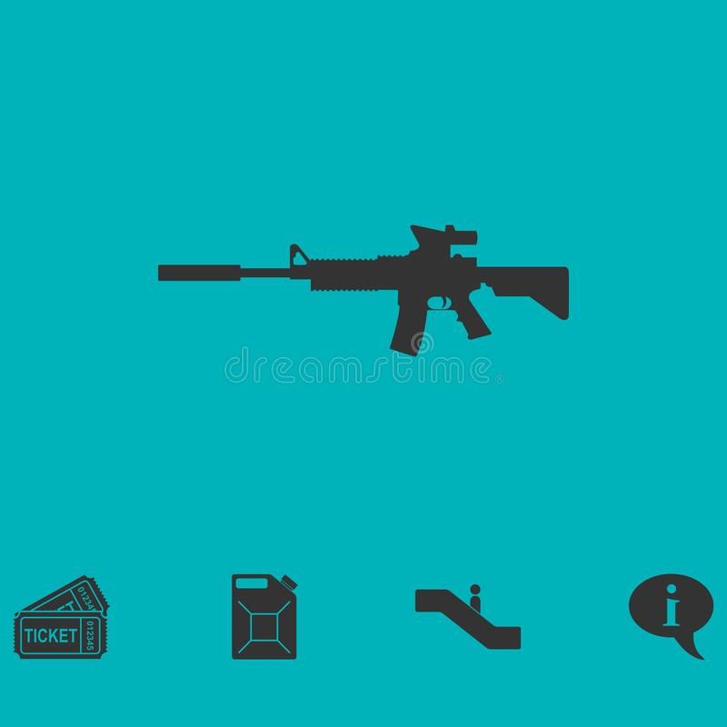 Assault carbine icon flat vector illustration