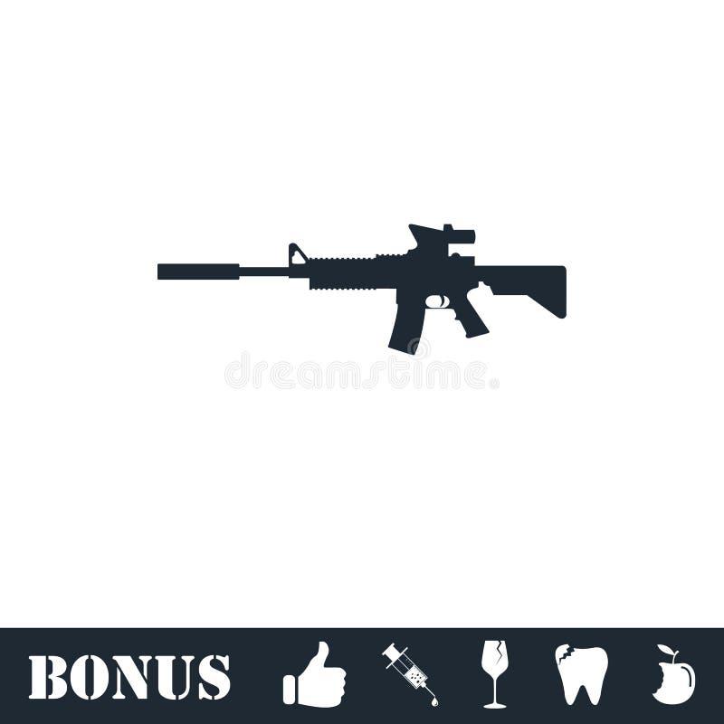 Assault carbine icon flat stock illustration