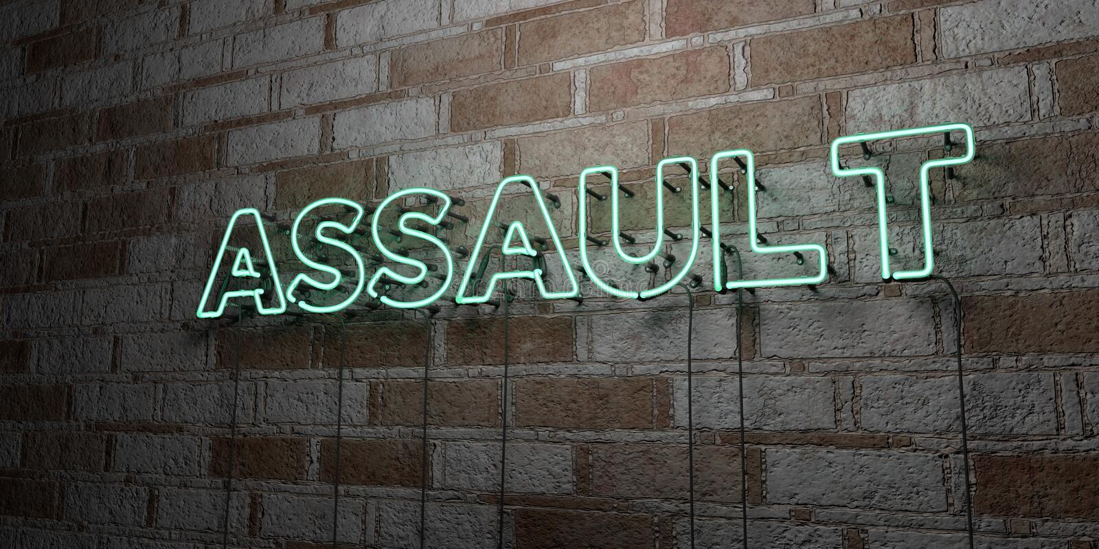 ASSAULT - Glowing Neon Sign on stonework wall - 3D rendered royalty free stock illustration. Can be used for online banner ads and direct mailers stock illustration