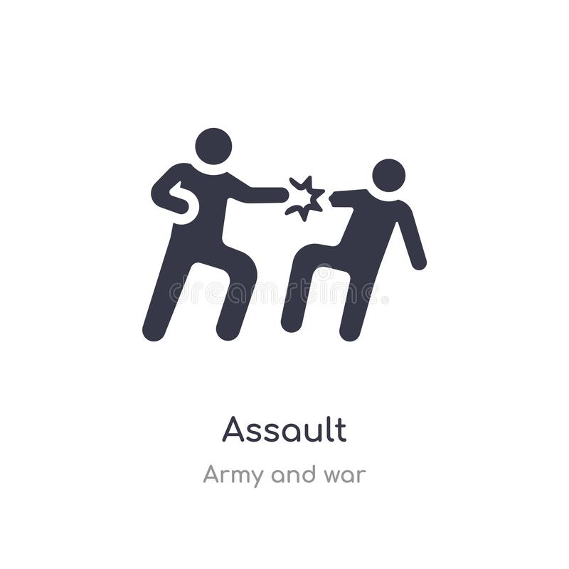 Assault icon. isolated assault icon vector illustration from army and war collection. editable sing symbol can be use for web site. And mobile app royalty free illustration