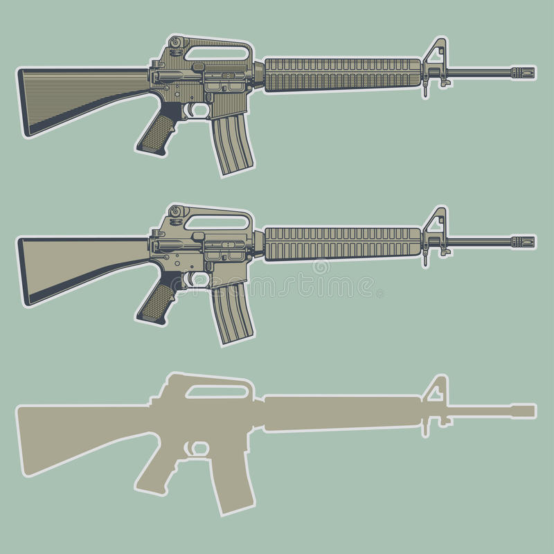 Download Assault rifle stock vector. Image of army, assault, military - 20745250