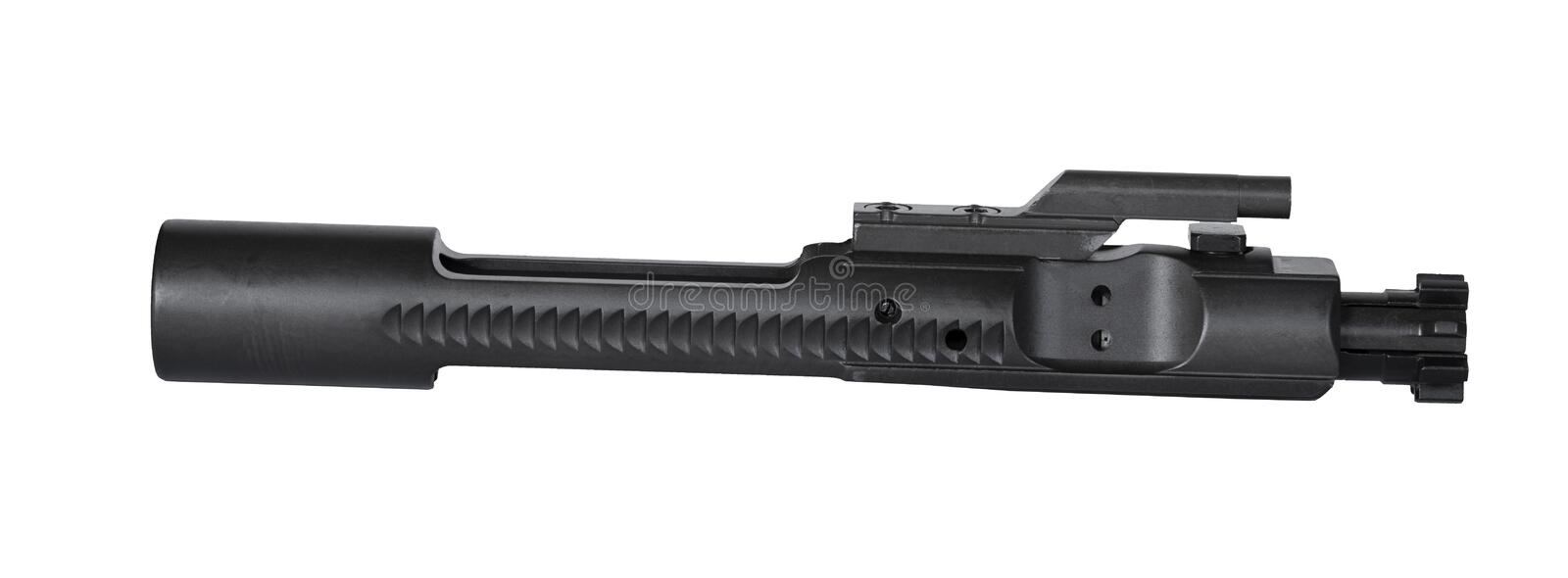 Assault rifle bolt carrier group. AR-15 bolt carrier group that is isolated on a white background royalty free stock image