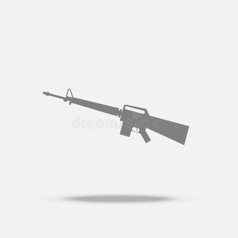 Assault Rifle Flat icon vector with shadow.  royalty free illustration