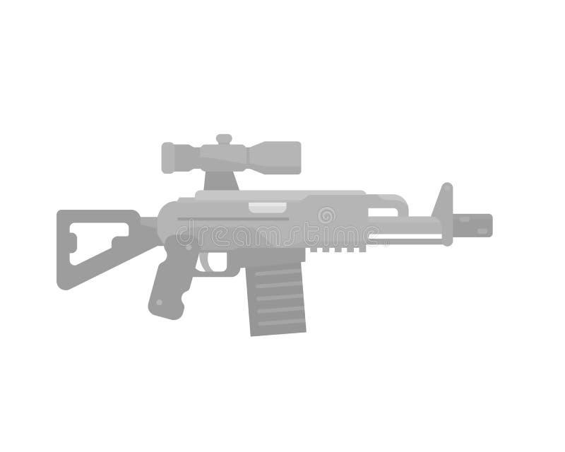 Assault rifle icon, gun with optical sight stock illustration