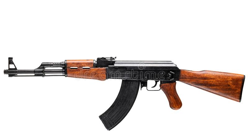 Assault rifle isolated on white. AK-47 stock photos