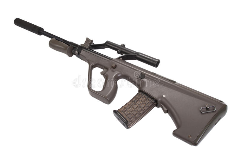 Assault rifle with silencer royalty free stock image