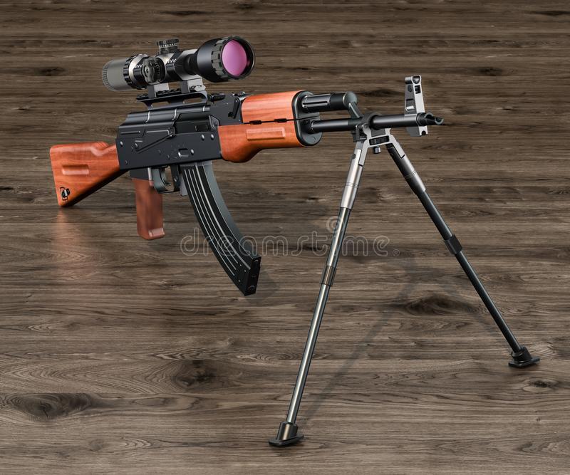 Assault rifle with telescopic sight and bipod on the wooden table, 3D rendering vector illustration