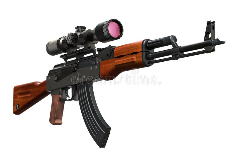 Assault rifle with telescopic sight, 3D rendering stock illustration