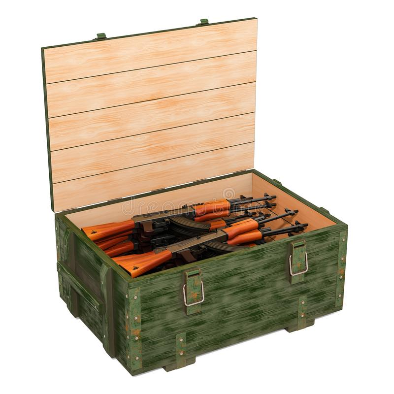Military wooden ammunition box with assault rifles, 3D rendering vector illustration