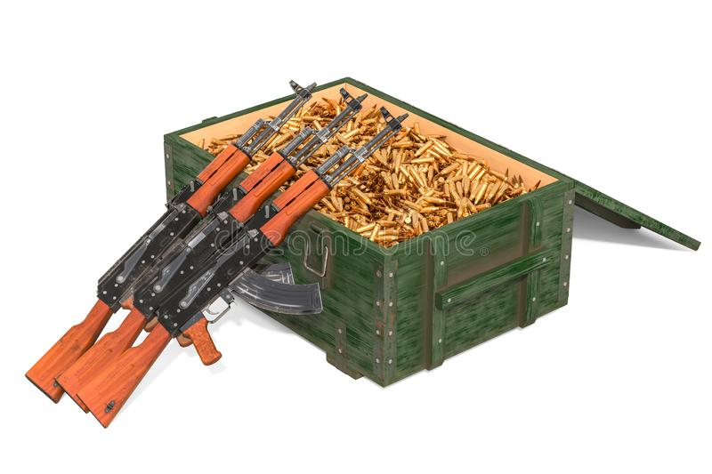 Assault rifles with military wooden ammunition box full of rifle bullets, 3D rendering stock illustration