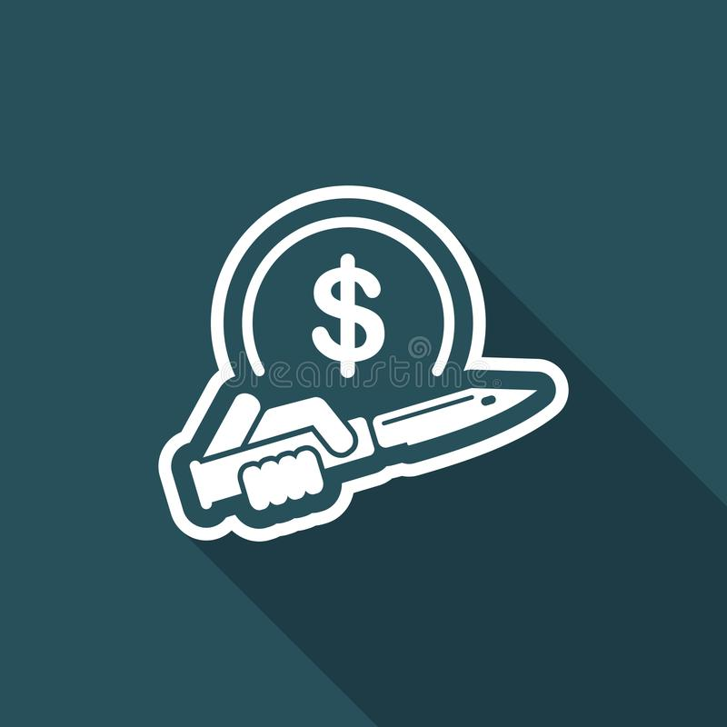 Assault to robbery. Flat and vector eps illustration icon with minimal design and long shadow vector illustration
