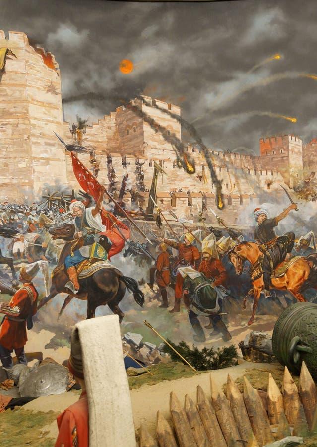 Assaut final et la chute de Constantinople en 1453 image libre de droits