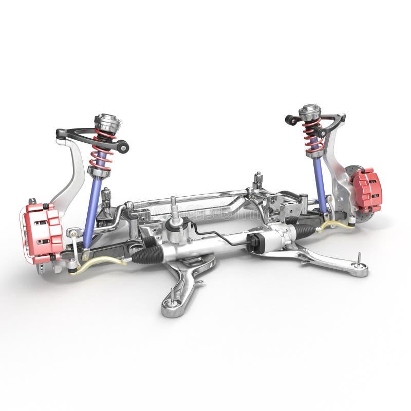 Asse anteriore con la sospensione ed assorbitore su bianco illustrazione 3D illustrazione vettoriale