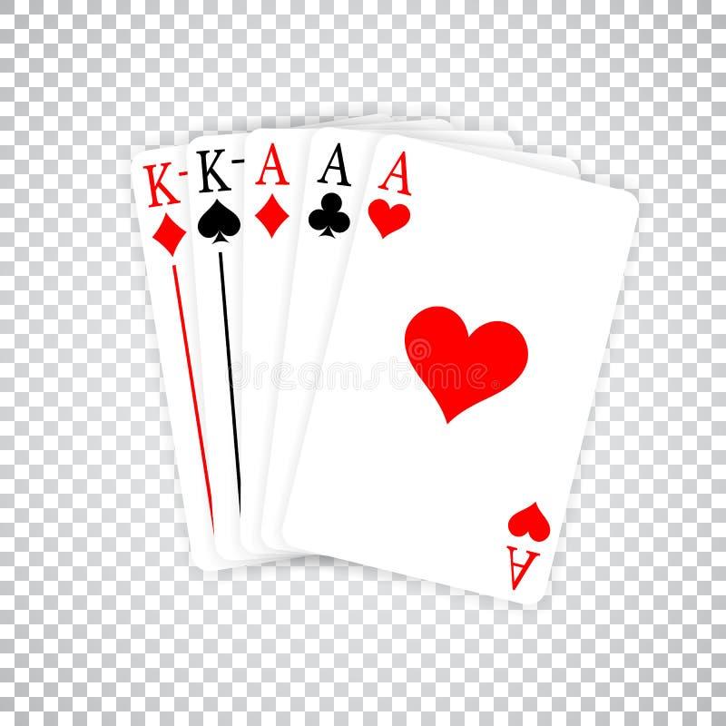 Asse eines Poker-Handvollen Haus-drei und Paare Spielkarten Könige stock abbildung