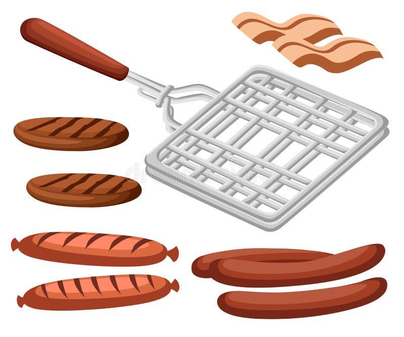 Asse em casa ou alimento liso da carne da ilustração do equipamento da cozinha do churrasco do BBQ dos produtos do jantar do part ilustração stock