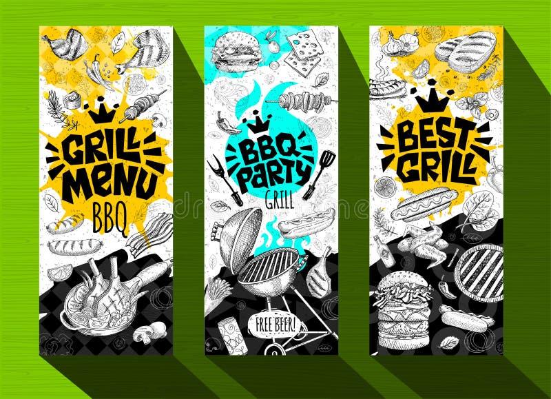 Asse o alimento grelhado cartazes da bandeira, salsichas, galinha, batatas fritas, bifes, peixes, partido da grade do BBQ ilustração royalty free