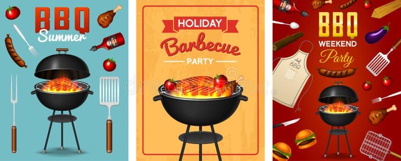 Asse o grupo de elementos da grade isolado no fundo vermelho Cartaz do partido do BBQ Adultos novos Restaurante da carne em casa  ilustração stock