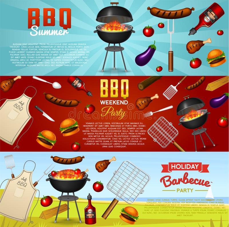Asse o grupo de elementos da grade isolado no fundo vermelho Cartaz do partido do BBQ Adultos novos Restaurante da carne em casa  ilustração do vetor