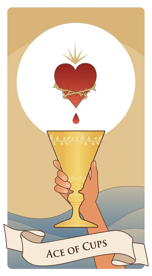 Asse von Tarock-Karten cup Hand, die eine goldene Schale unter einem symbolischen Herzen umgeben durch Dornen hält Wellen des Was lizenzfreie abbildung