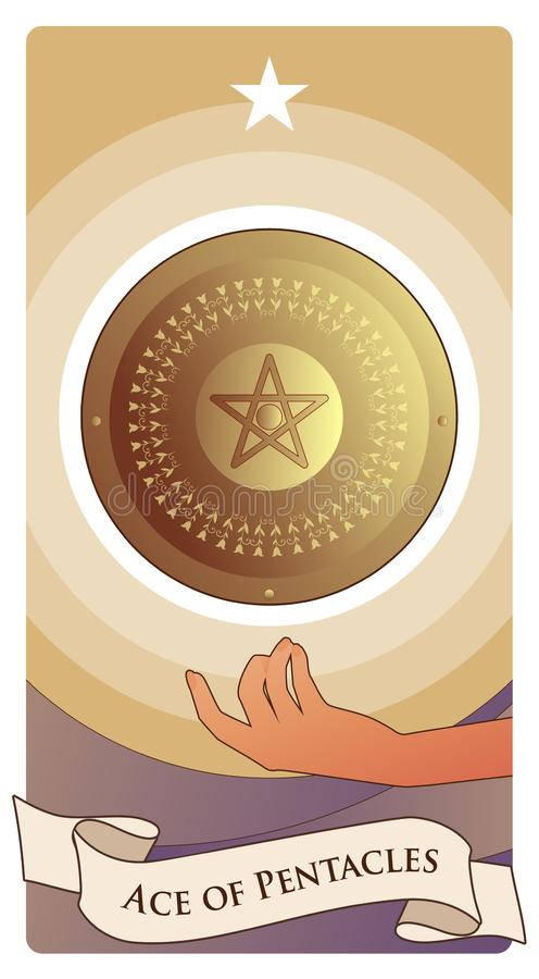 Asse von Tarock-Karten pentacles Goldenes Schild mit Pentacle in der Mitte, einerseits schwimmend und gekrönt durch einen Stern lizenzfreie abbildung