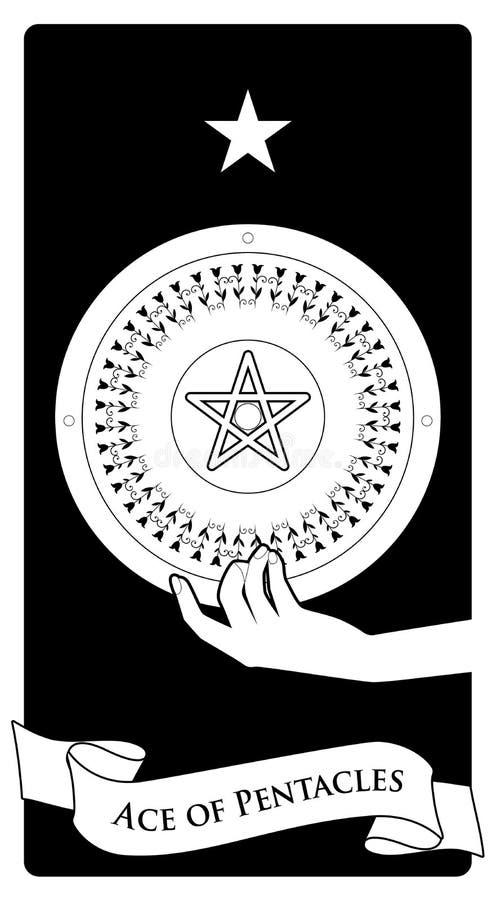 Asse von Tarock-Karten pentacles Hand, die einen Pentacle gekrönt durch einen Stern hält stock abbildung