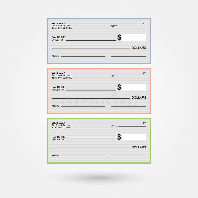 Assegni bancari generici in bianco 1 illustrazione vettoriale