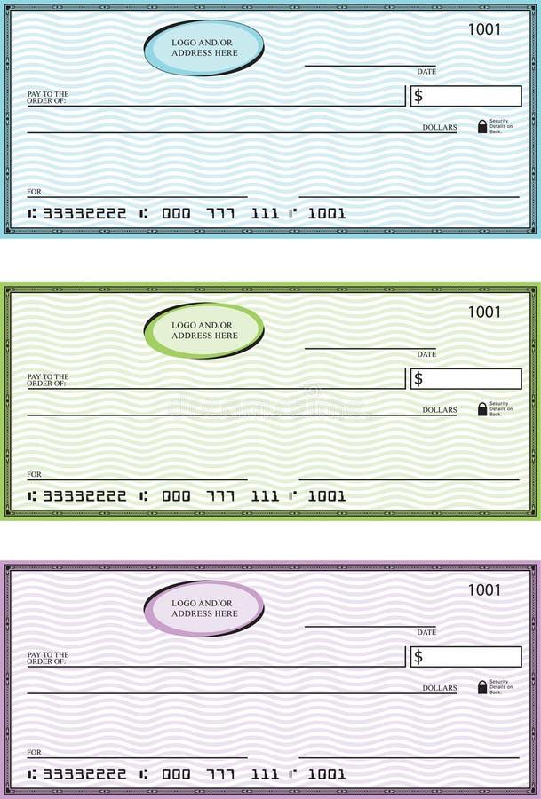 Assegni generici in bianco della Banca illustrazione vettoriale