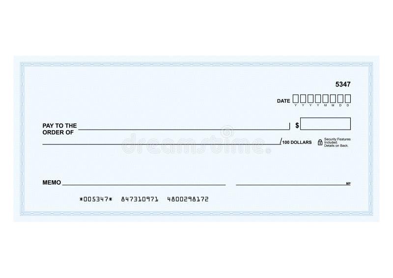 Assegno bancario illustrazione di stock