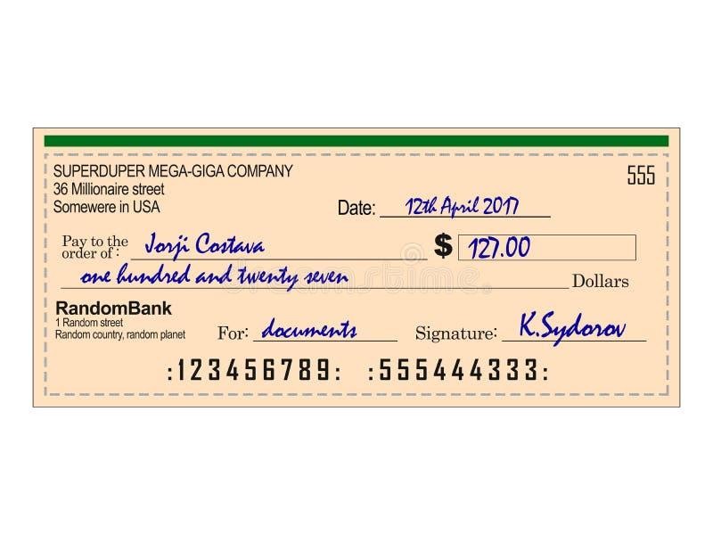 Assegno bancario riempito royalty illustrazione gratis