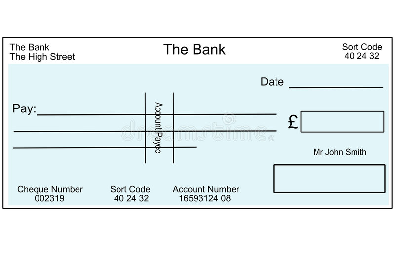 Assegno britannico in bianco illustrazione di stock