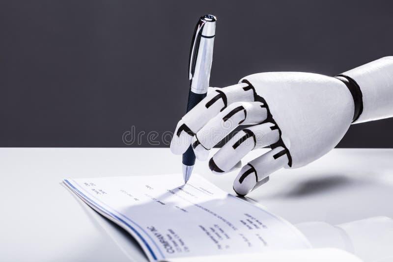 Assegno di firma del robot immagini stock