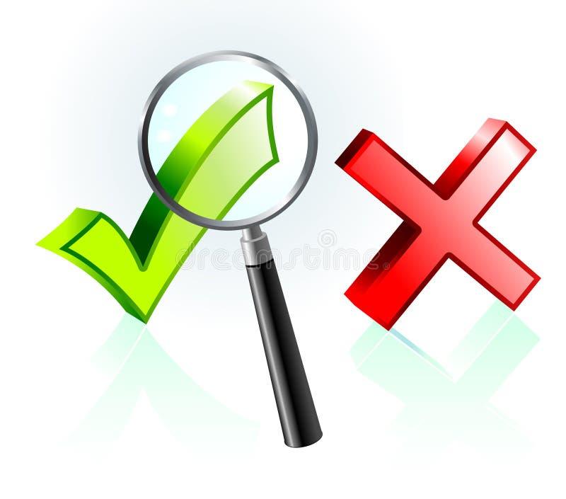 Assegno e contrassegno di X sotto la lente d'ingrandimento royalty illustrazione gratis