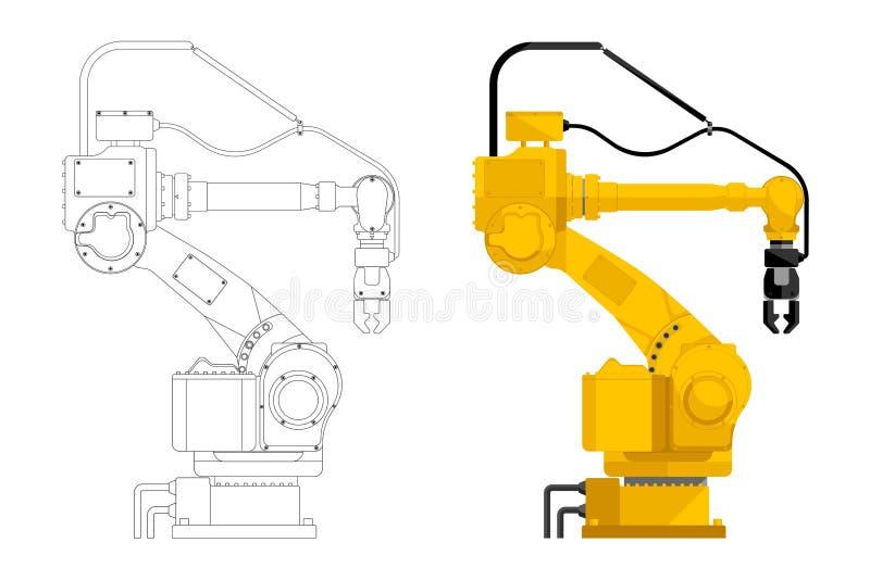 Assemblée manipulant le robot illustration stock