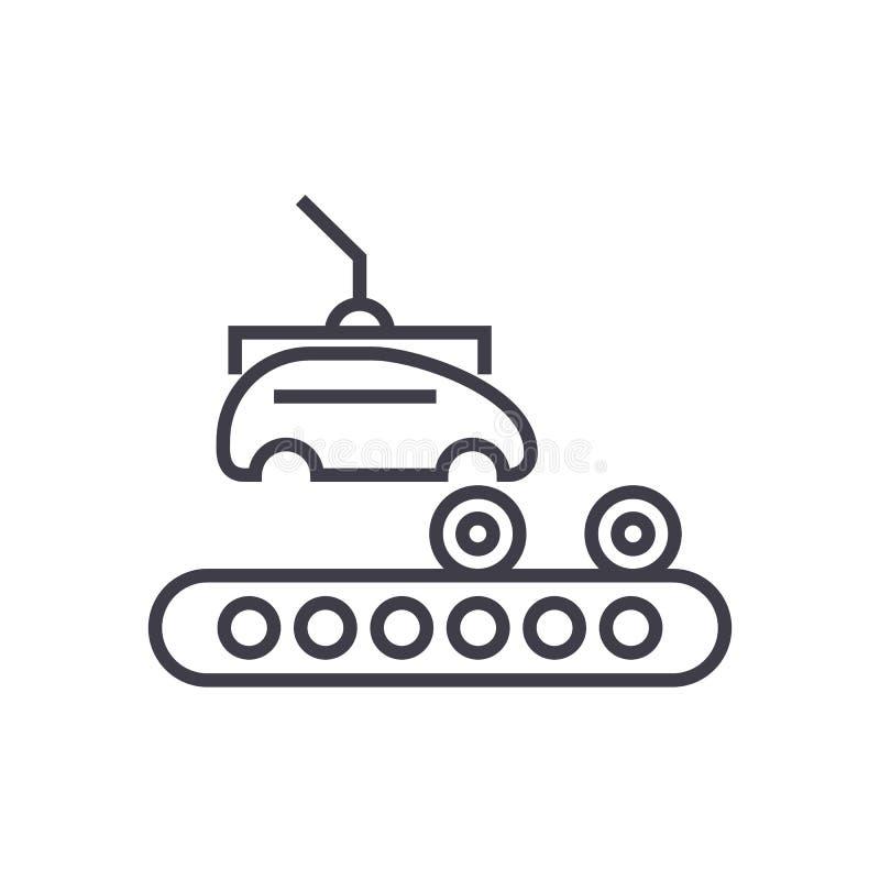 Assemblageauto, pictogram van de transportband het vectorlijn, teken, illustratie op achtergrond, editable slagen stock illustratie