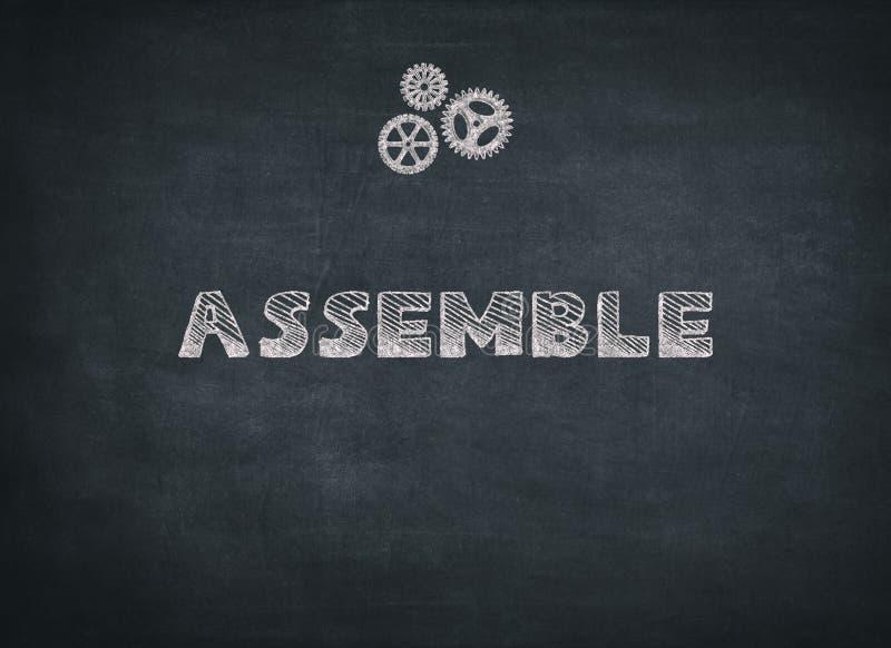 Assemble geschrieben auf schwarzen Hintergrund stockbilder