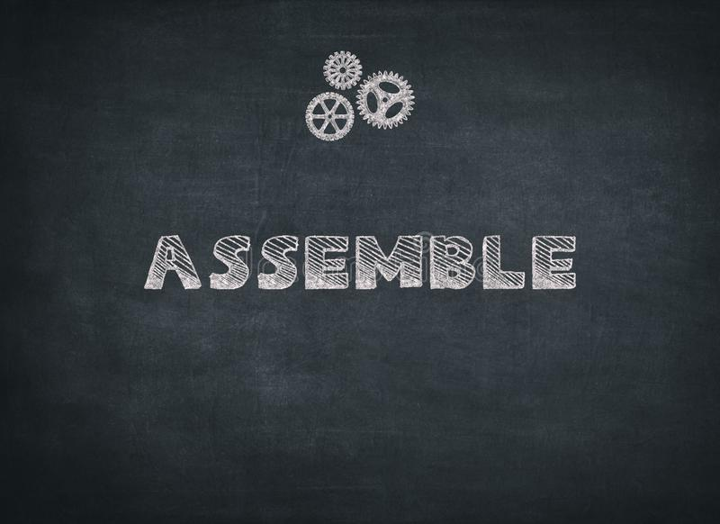 Assemble written on black background. To mean a concept stock images