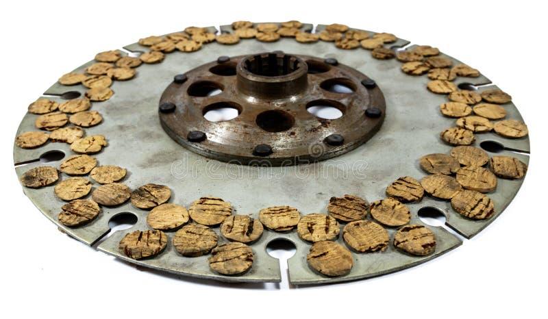 Assemblea automobilistica antica del disco di frizione del sughero immagini stock libere da diritti