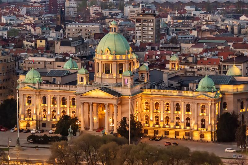 Assemblea nazionale serba Belgrado immagini stock libere da diritti