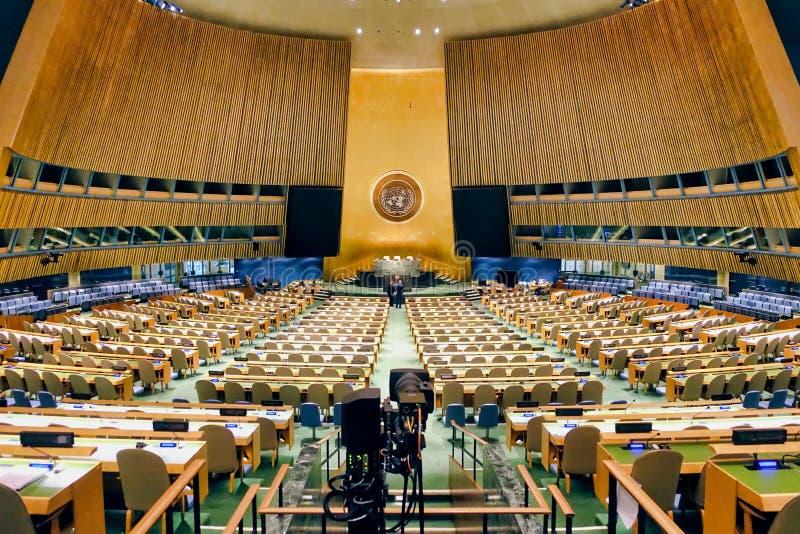Assembleia geral Sal?o de United Nations fotografia de stock