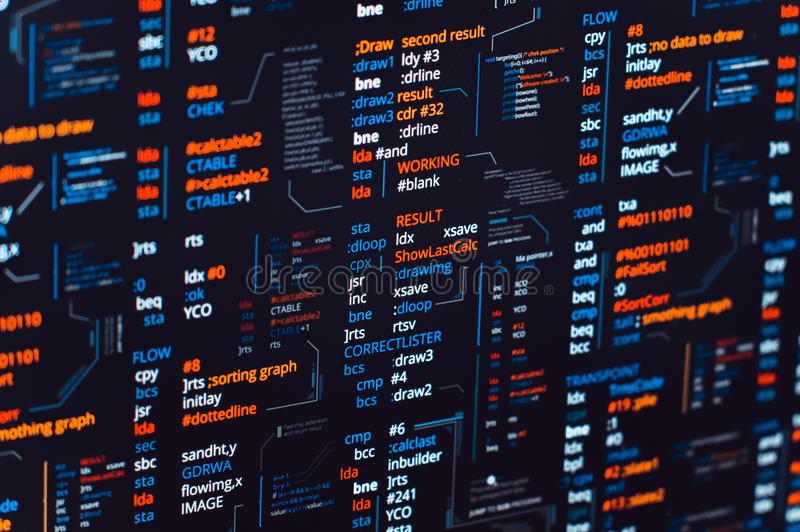 Assembler. Abstract program source with binary code on screen - programing or debugging process royalty free stock photography