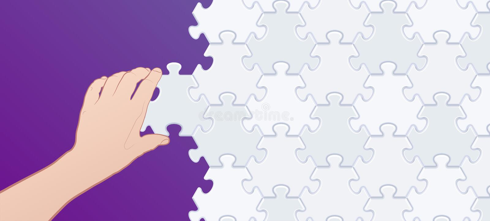 Assembler un puzzle denteux illustration stock