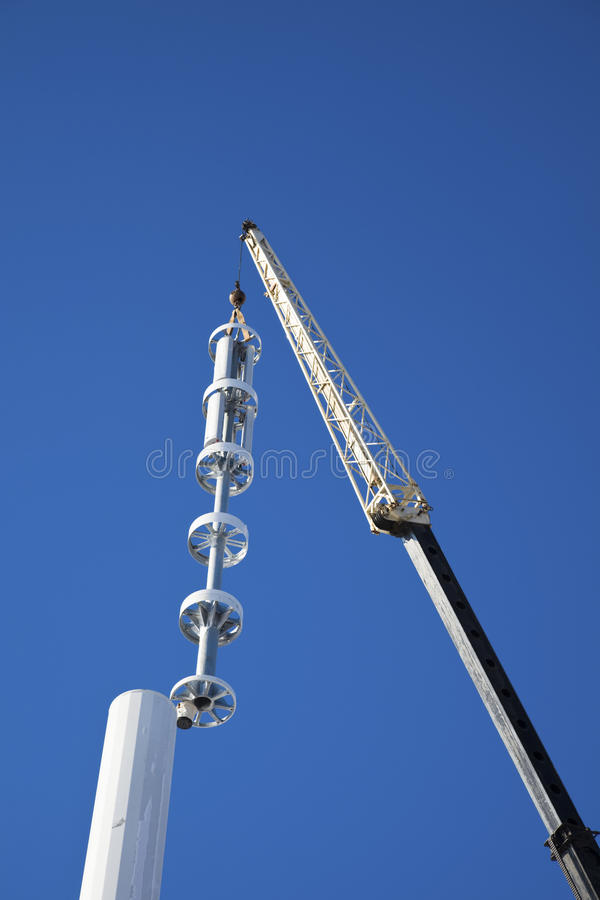 Assembling cell tower stock images