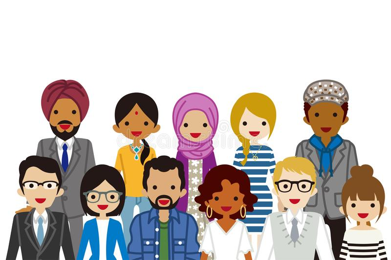 Assembling Multi Ethnic people, Waist up vector illustration