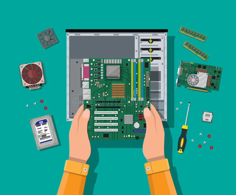 Assembling PC. Personal computer hardware. Hands with motherboard, hard drive, cpu, fan, graphic card, memory, screwdriver and case. Assembling PC. Personal royalty free illustration