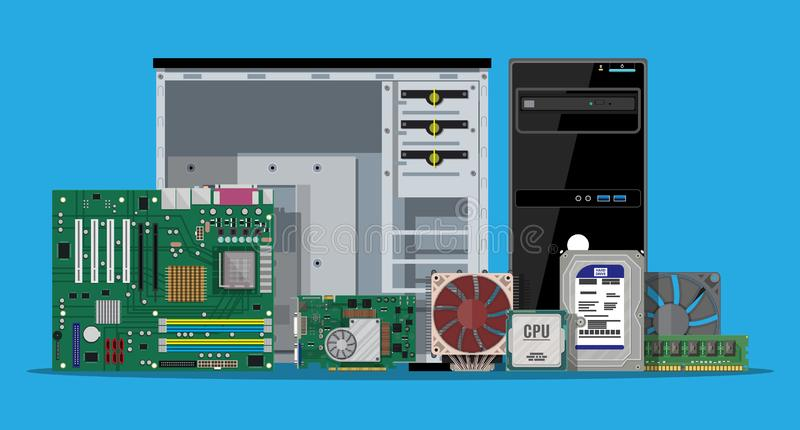 Assembling PC. Personal computer hardware. Motherboard, hard drive, cpu, fan, graphic card, memory, screwdriver and case. Set of personal computer hardware. PC vector illustration