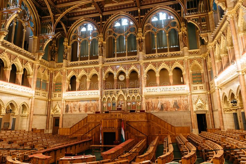 Assembly Hall of Hungarian Parliament Building royalty free stock photos